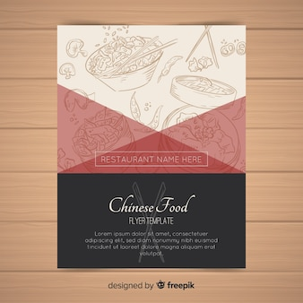 Hand dranw chinese food flyer template