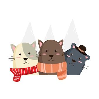 冬に身を包んだ猫を手描き