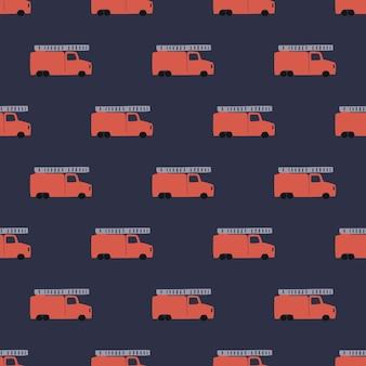 Рука рисовать пожарную машину бесшовные модели. векторный мальчишеский фон в скандинавском стиле. красный огонь симпатичные автомобили, изолированных на синем фоне. принт для детской футболки, текстиля, упаковки, обложки