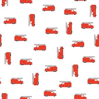 Рука рисовать пожарную машину бесшовные модели. векторный мальчишеский фон в скандинавском стиле. красный огонь симпатичные автомобили, изолированных на белом фоне. принт для детской футболки, текстиля, упаковки, обложки