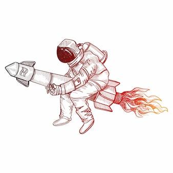 Рука рисовать космонавт-космонавт в космическом эскизе