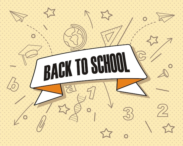 Hand draw back to school on a background