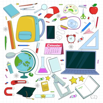Hand draw back to school supply