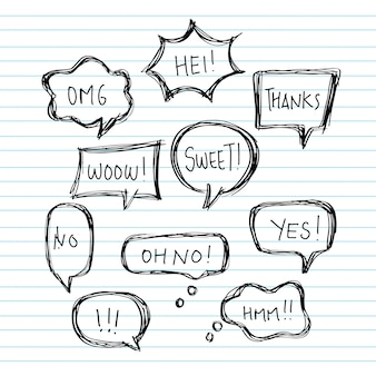 Hand draw balloon speech bubbles set with short messages