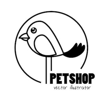 Hand draw bird pet shop concept