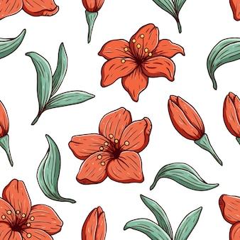 손으로 그리는 꽃 꽃 원활한 패턴. 빈티지 배경
