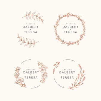 Hand draw botanical floral template