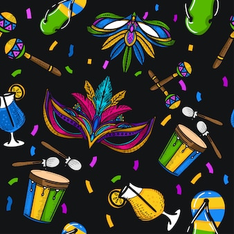 Hand draw brazil festival illustration seamless pattern