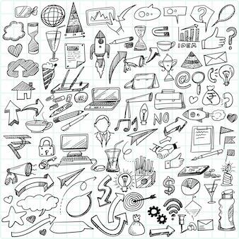 Idea imprenditoriale di tiraggio della mano doodles il disegno di schizzo