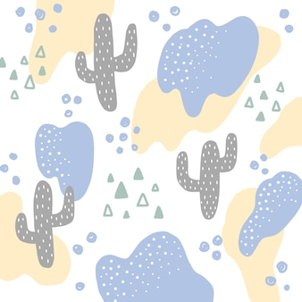 Hand draw cactus abstract pattern background