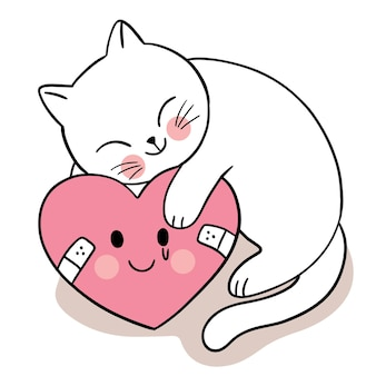 Hand draw carton cute for valentine day with cat and sadness heart Premium Vector