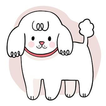 Рука рисовать мультфильм милая очаровательная белая собака вектор