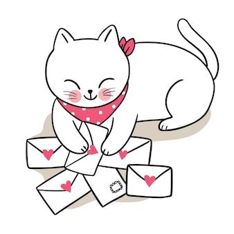 Рука рисовать мультфильм милый на день святого валентина с кошкой и любовными письмами вектор