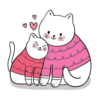 Рука рисовать мультфильм милый на день святого валентина с мамой и малышкой, обнимающей кошку