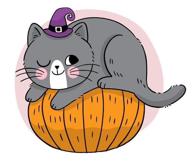 Рука рисовать мультфильм милая ведьма хэллоуин черная кошка на тыкве вектор
