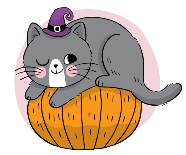 Hand draw cartoon cute halloween witch black cat on the pumpkin vector
