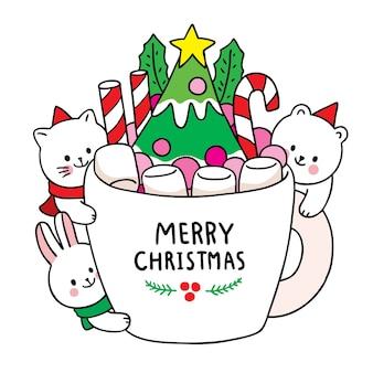 Рука рисовать мультфильм милый с рождеством, животные и сладкая чашка