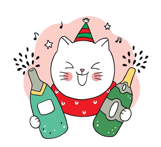 Рука рисовать мультфильм милый с рождеством, кошка и шампанское