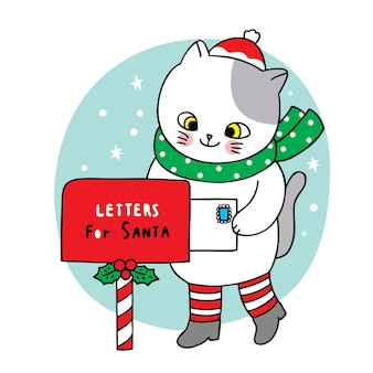 Рука рисовать мультфильм милый с рождеством, кошка и письмо в почтовом ящике