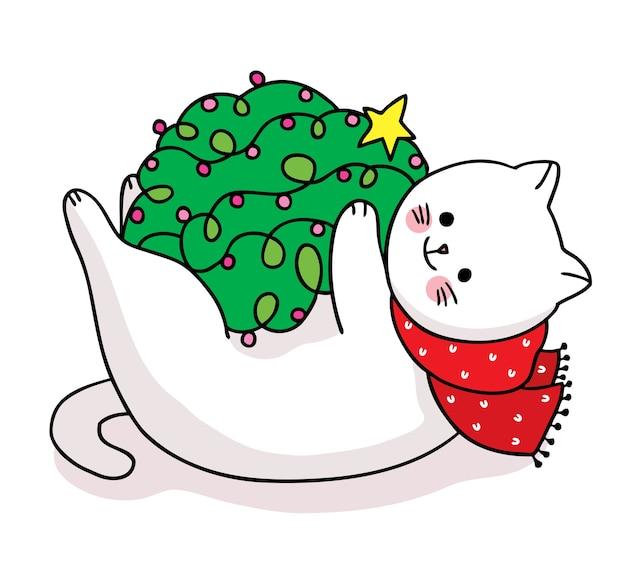 Рука рисовать мультфильм милый с рождеством, кот и светлая елка рождество
