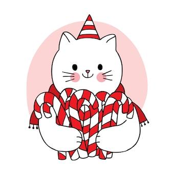 Рука рисовать мультфильм милый с рождеством, кот и сладкие конфеты