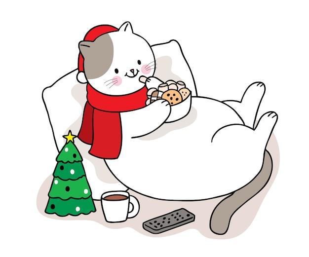 Рука рисовать мультфильм милый с рождеством, кошка ест сладкие конфеты