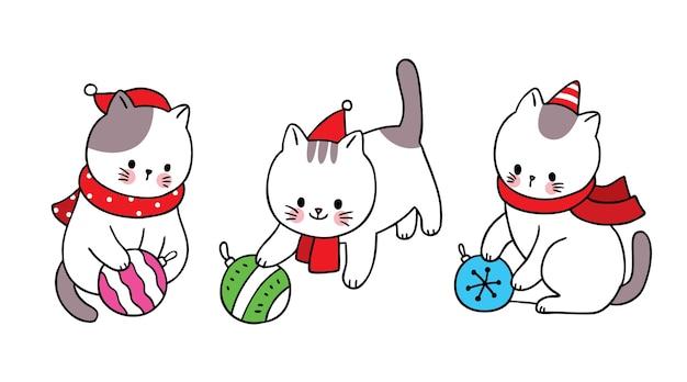 Рука рисовать мультфильм милый с рождеством, кошка играет орнамент мяч рождество