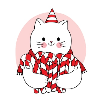 Hand draw cartoon cute merry christmas, cat and sweet candy