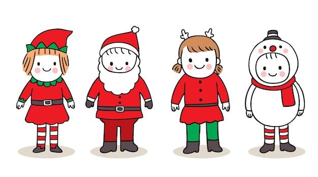 Рука рисовать мультфильм милый с рождеством, детский косплей рождество