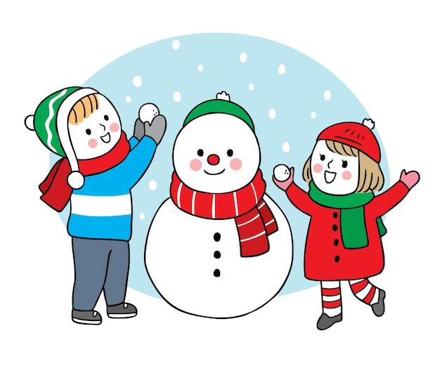 Рука рисовать мультфильм милый с рождеством, дети играют снеговика