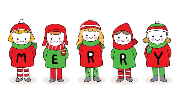 Hand draw cartoon cute merry christmas, children