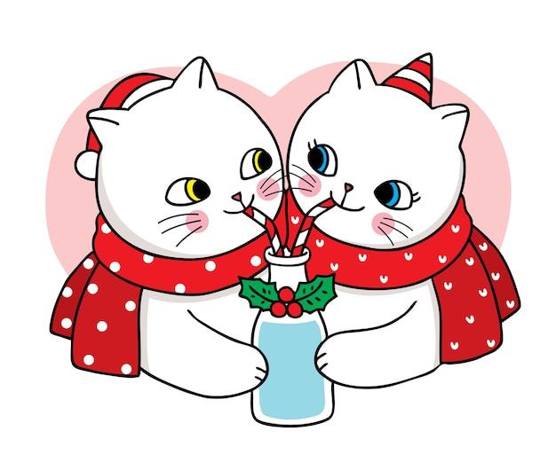 Рука рисовать мультфильм милый с рождеством, пара кошек пьют вместе