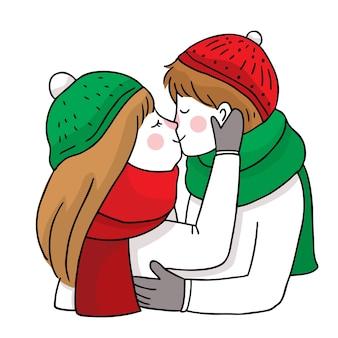 手描き漫画かわいいメリークリスマス、カップルのキスと抱擁