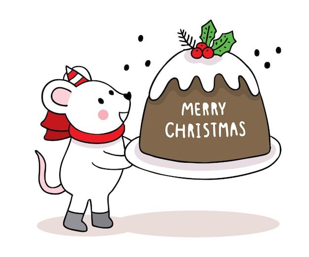 손으로 그리는 만화 귀여운 메리 크리스마스, 마우스 및 큰 케이크