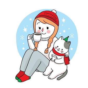 Рука рисовать мультфильм милый с рождеством, женщина и кошка пьют кофейную чашку