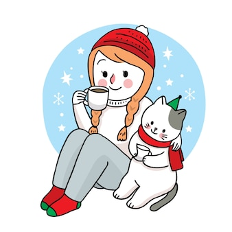 Hand draw cartoon cute merry christmas, woman and cat drink coffee cup