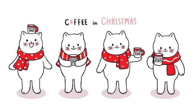 Рука рисовать мультфильм милый с рождеством