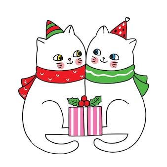 Hand draw cartoon cute merry christmas
