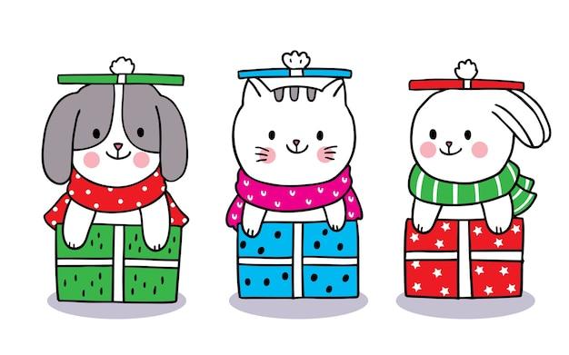 Рука рисовать мультфильм милый с рождеством Premium векторы