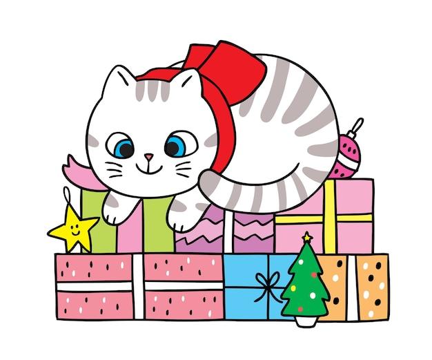 Hand draw cartoon cute merry christmas,