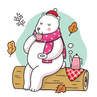 Hand draw cartoon cute polar bear drink tea in the forest .
