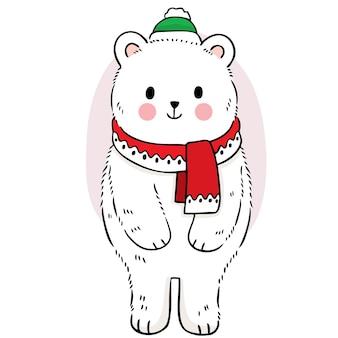 Рука рисовать мультфильм милый полярный медведь в зимнем векторе