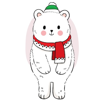 Hand draw cartoon cute polar bear in the winter vector