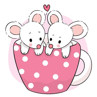 Hand draw cartoon cute sweet mouse in coffee cup vector
