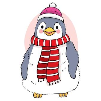 Рука рисовать мультфильм милый сладкий пингвин в зимнем векторе