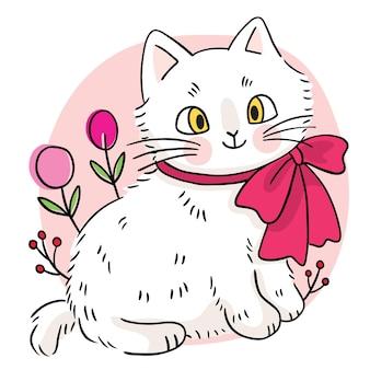 Рука рисовать мультфильм милый сладкий белый кот и цветок вектор