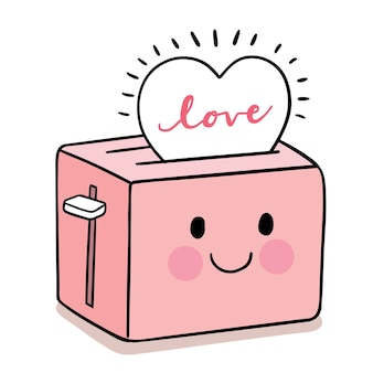 Hand draw cartoon cute for valentine day with  bread toaster and heart