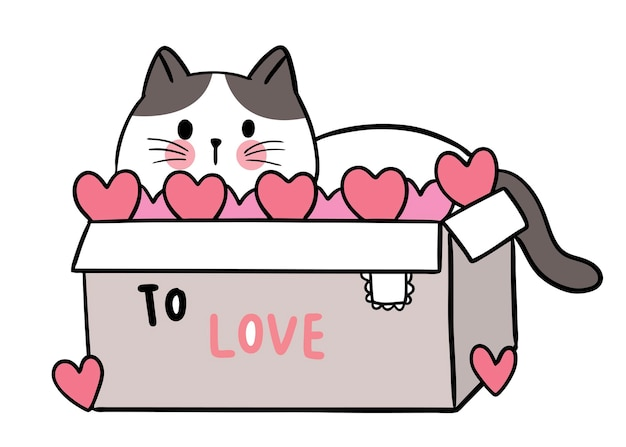 Hand draw cartoon cute for valentine day with cat in the box