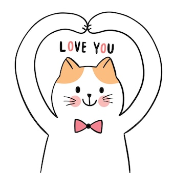 Hand draw cartoon cute for valentine day with cat and love action