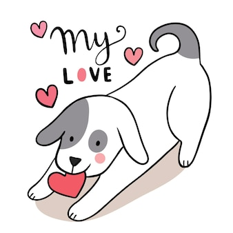 Hand draw cartoon cute for valentine day with dog and heart